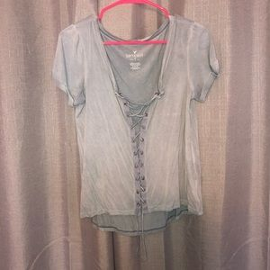 American Eagle Lace Up T-shirt
